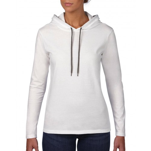 Women`s Fashion Basic LS Hooded Tee
